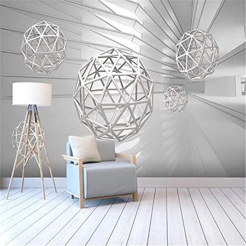 JIYOTTF 3D Photo TV Wallpaper Wall Painting Decoración Etiqueta de la paredMinimalista creativo blanco cúbico geométrico gráfico(W 500 x H 290cm) Papel tapiz fotográfico 3D Etiqueta de la pared Pegat