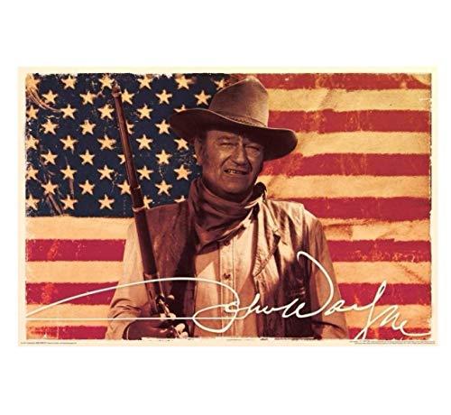 JCYMC Leinwand Bild John Wayne- Flagge Retro Print Kunst Poster Wand Schlafzimmer Wohnzimmer Badezimmer Home Decor Geschenk Ct18Zm 40X60Cm Rahmenlos