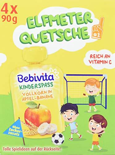Bebivita Kinder-Spaß Frucht und Getreide Vollkorn in Apfel-Banane, 4 x 90 g