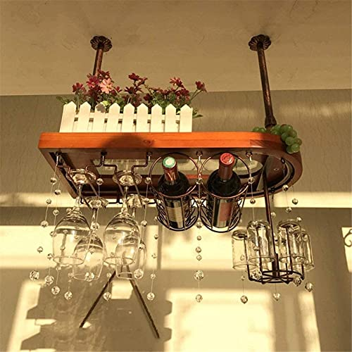 Wijnrek Peaceip massief houten bar tafel hangende ornamenten Europese hoge bar bars bereik van Europese kastanje, retro kleur, brons (60cm, 80cm, 100cm) (kleur: vos, maat: 100cm) Stor Beautiful Home