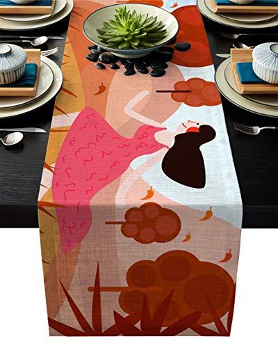 Camino de mesa Homemade 4U con diseño de bosque otoñal para fiestas en interiores y exteriores, cenas familiares, eventos, mesa rectangular, niña corriendo en el campo, algodón, lino, Rungirlheu8924, 14x72inch