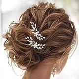 IYOU Pasador de pelo de cristal de perlas para novia Oro Pinza para el cabello con flores accesorios para el cabello de boda para mujeres y niñas (paquete de 2)
