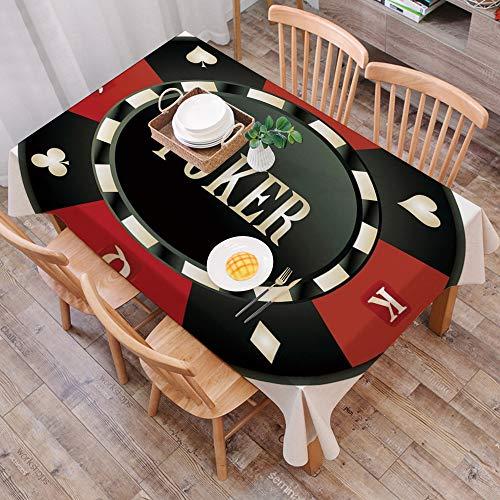 Nappe Imperméable Coton et Lin de Table Rectangulaire Résistant Nappe Anti-Taches,Tournoi de poker, Puce de casino avec mot de ,Table à Manger Picnic Party Jardin Lavable Entretien Facile(140 * 200CM)