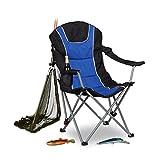 Silla de camping plegable Relaxdays, respaldo acolchado ajustable, silla de pesca plegable, HxWxD: 108x90x72 cm, azul-negro