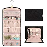 Vextronic Travel Hanging Jewelry Organizer Case Foldable Jewelry Roll Storage Case Bag for Bracelets Earrings Necklace Rings Watches,Black and Pink