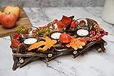 HEITMANN DECO Kerzenhalter aus Reisig - Herbstdeko, Tischdeko - zum Hinstellen - Natur, Orange, Gelb - mit DREI Kerzengläsern - 7