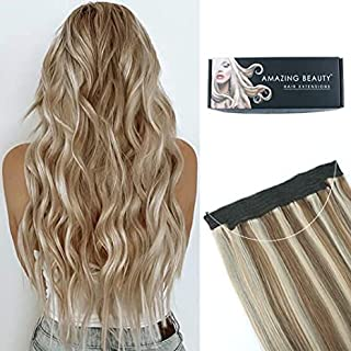 ABH AMAZINGBEAUTY Halo Hair Extensions Human Hair, Thick Full Head 130 Gram, Ash Brown with Platinum Blonde Highlights P8-...
