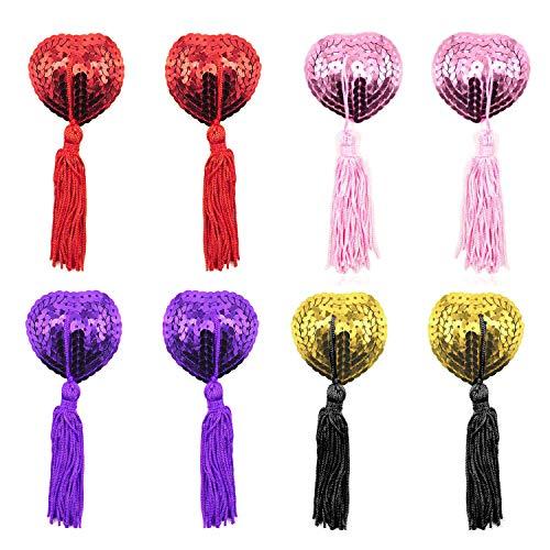 EQLEF Dessous Brust Blütenblatt Pasty, Klebstoff Pailletten Pasties mit Quasten, Nipple Covers Set von 4 (rot, golden, rosa und lila)
