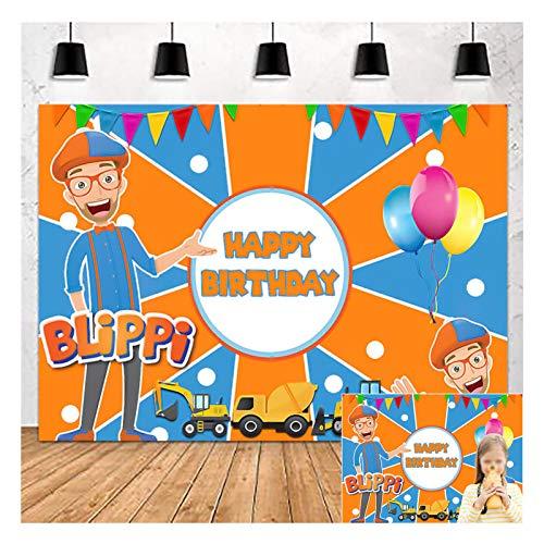 Cartoons Orange Blue Blippi Happy Birthday Theme Photography Backdrops 5x3ft Children Boys Birthday Party Photo Background Baby Shower Kids Party Banner Dessert Cake Table Decor Vinyl