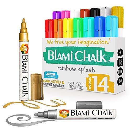Blami Arts Kreidemarker - Kreidestift für fenster 14 Bunt mit Kreidestifte Extra GOLD & SILBER flüssigkreide