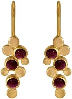 Gehna 22k (916) Yellow Gold and Garnet Drop Earrings for Women