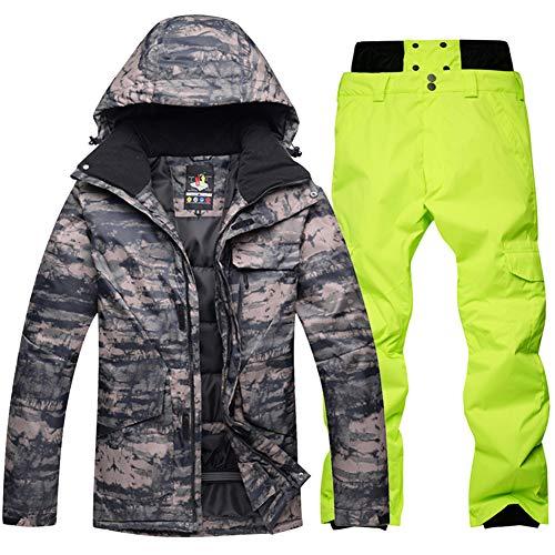 GITVIENAR Skianzug 2 teilig Skijacke Herren, Segeljacke mit Skihose Schneeanzug wasserdicht atmungsaktiv für Outdoor Skigebiet Skifahren (Tarnung+Grün, L)
