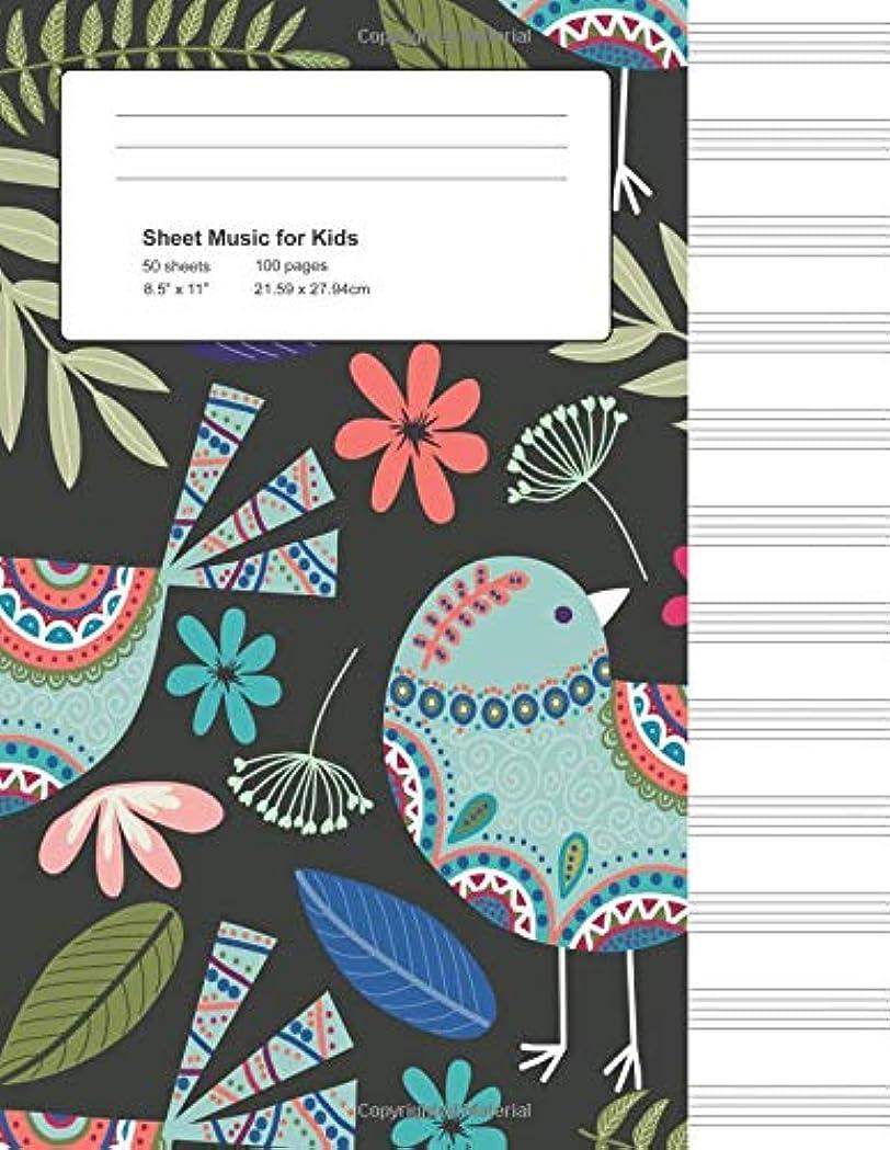 電気いじめっ子矢じりSheet Music for Kids: Birds Folk Art, Manuscript Paper (Songwriting for Beginners)
