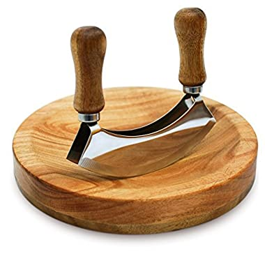 MEZZALUNA KNIFE AND CUTTING BOARD – Double Blade herb chopper – Hardwearing Acacia Wood – For Efficient Mincing – 8 inch recessed board – Boxed Set