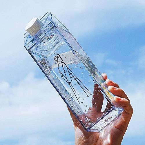 quadratische Kunststoff klare Milchkarton Wasserflasche Mode Erdbeer transparente Milchbox Saft Wasser Tasse für Mädchen