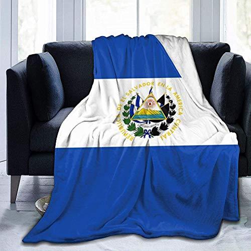 Manta de Tiro Bandera de El Salvador Manta de Microfibra Ultra Suave Manta de Cama súper Suave y acogedora para Cama Sofá Sofá Sala de Estar Picnic de