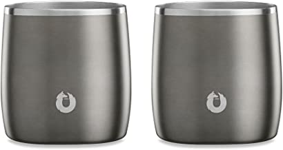 Snowfox Stainless Steel Cocktail, Whiskey Rocks Glasses, Set of 2, Olive Grey