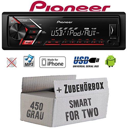 Autoradio Radio Pioneer MVH-S110UI - | MP3 | USB | Android | iPhone Einbauzubehör - Einbauset für Smart ForTwo 450 grau - JUST SOUND best choice for caraudio