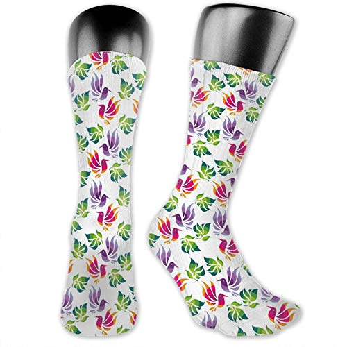 Socks Compression Medium Calf Crew Sock,Origami Art Style Inspired Fractal Bird Figures With Exotic Leaf Details Design
