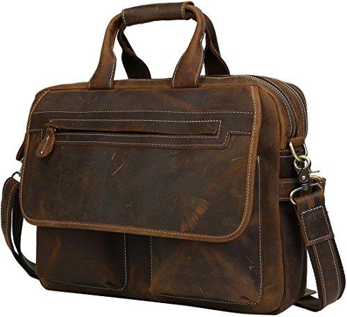 """Iswee Leather Briefcase Fit under 16.5"""" Laptop Tote Shoulder Bag for Men Messenger Satchel Work Case Handbags Crossbody (Dark Brown, Large)"""