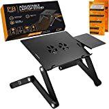 Product Name: Adjustable Laptop Stand - Perfect Laptop Stand for Bed, Portable Standing Desk at The Office, Laptop Desk for Bed, Portable Laptop Stand - Sturdy Aluminum Desk Stand w/Anti-Slip Bars &