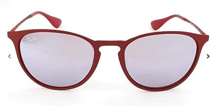 RAY-BAN RB3539 Erika Round Metal Sunglasses, Rubber Bordeaux/Bordeaux Light Flash Grey, 54 mm