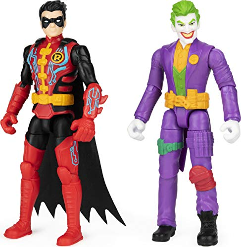 DC Comics Batman 4-inch Robin and The Joker Action Figures for Boys with 6 Mystery Accessories, Kids Toys for Boys Aged 3 and up