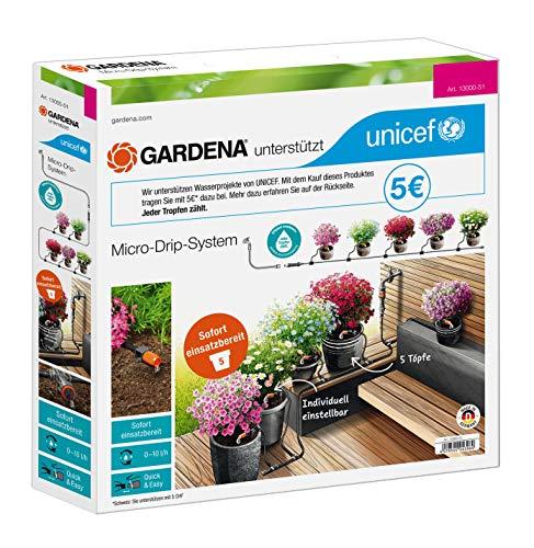 GARDENA Start Set Pflanztöpfe S zugunsten von UNICEF: Zur Tropfbewässerung von 5 Topfpflanzen, präzise und individuell bewässert dank einstellbaren Tropfer (13000-51)