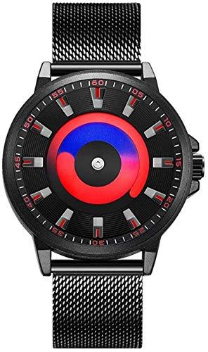 Reloj analógico de cuarzo para hombre, creativo sin puntero deportivo, correa de malla de acero inoxidable, impermeable, luminoso, natación, moda casual relojes para niño azul y rojo
