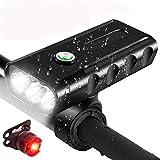 Afaneep Luz Bicicleta, Luz Bici LED Recargable USB con 1500 Lúmenes Super Brillante 3 LED...