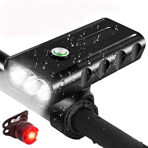 Luci Bicicletta LED Ricaricabili USB, 1500LM Luci per Bici Anteriori e Posteriori Super Luminose - IPX6 Luci per Bici Bicicletta MTB,Torcia da Testa Lampada Frontale Bici Faro