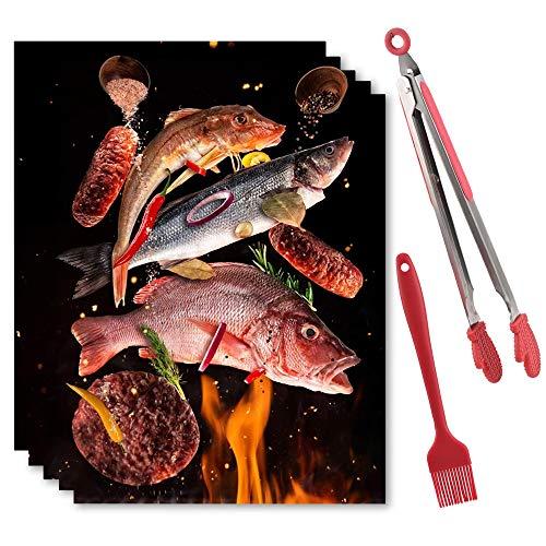 YiWeel BBQ Grillmatten Wiederverwendbare für Gasgrill,Antihaft Magische Grillmatte 5er Set 40x33 cm,PFOA Frei Teflon Grillmatte für Holzkohlegrill