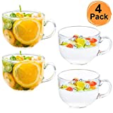 DeeCoo Large Glass Coffee Mugs, Wide Mouth Mugs for Soup, Cappuccino, Coffee, Latte, Cereal, Ice Cream, Etc, Set of 4, 17 oz, Dishwasher and Microwave Safe (Premium Toughened Glass)