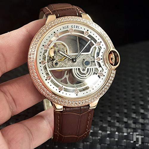 HHBB Marca de lujo hombres de cuero negro bisel de diamante automático mecánico reloj de acero inoxidable esqueleto Tourbillion Zafiro Relojes Aaa+, Oro rosa y blanco.