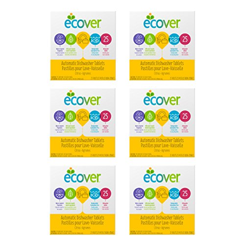 Price comparison product image Ecover Automatic Dishwasher Soap Tablets,  Citrus,  25Count (Packaging May Vary) (Pack of 6)
