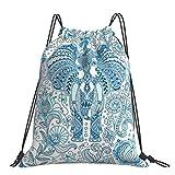 Nicegift Mochila grande con cordón azul elefante tatuaje di