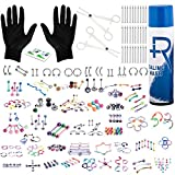 BodyJ4You 156PC Body Piercing Kit Aftercare Spray 14G 16G Belly Ring Tragus RANDOM Mix Jewelry
