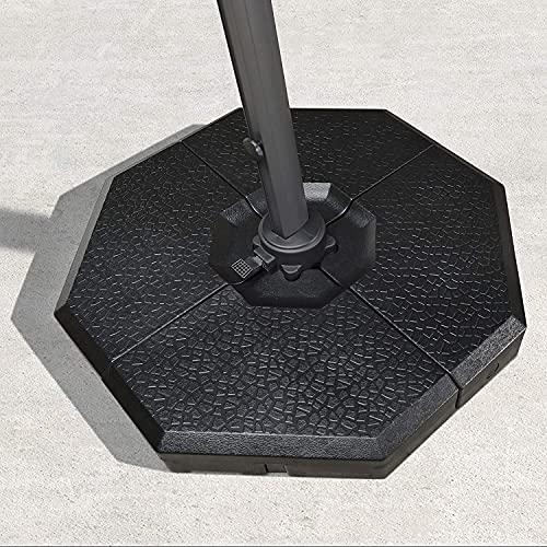 PURPLE LEAF Base de parasol 4 pièces pour parasol extérieur déporté Base de poids 100 kg Noir