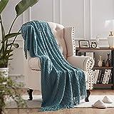 NexHome Throw Blankets Blue Decorative Knit Blanket with Tassel Soft Lightweight Zigzag Textured Boho Throws (50'x60' Teal)