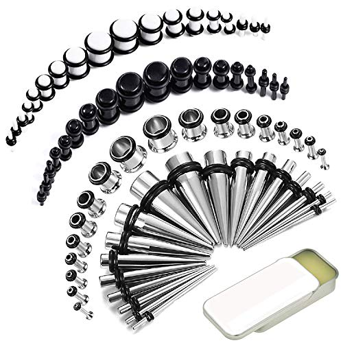 BodyJ4You 73PC Gauges Kit Ear Stretching Aftercare Balm 14G-00G Black White Acrylic Plug Steel Taper