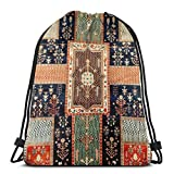 Yuanmeiju Kurdish Persian Garden Rug Shoulder Bolsa con cordón Backpack String Bags School Rucksack Gym Sport Bag Lightweight