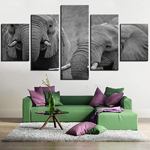 XGDDSS 5 aufeinanderfolgende Bilder 5 Stück weiße und Schwarze Art Elefanten Cool Tone Malerei Leinwand Wandkunst Bild Home Decoration Wohnzimmer Tier Poster Plakat Dekoration Wand (Kein Rahmen)