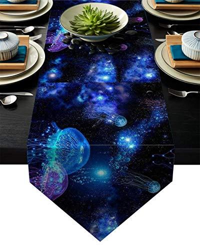 Camino de Mesa Cosmic Galaxy Dust Jellyfishh Pattern Farmhouse Table Runners Camino de Mesa pequeño,Arte Moderno Bohemio Rectángulo Decoración de Mesa