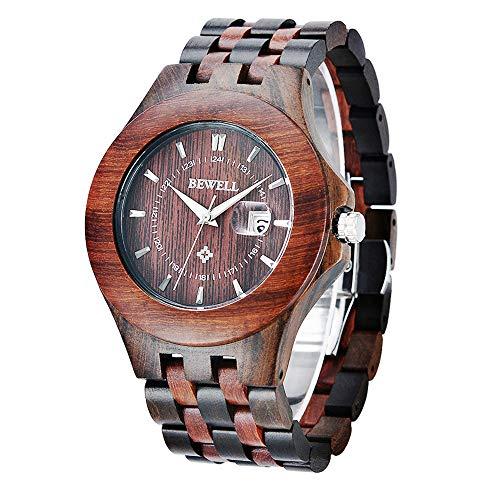 Bewell - Reloj de Pulsera de Madera para Hombre, analógico, de Cuarzo, con Fecha, Ligero, Hecho a Mano, para Hombre