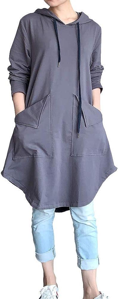 Mordenmiss Women's Sweatshirt Tunic Dresses Long Sleeve Casual Oversized Long Hoodie Pullovers