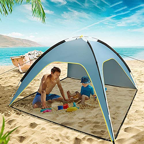 YCZG Tienda De Playa, Paraguas Portátil Plegable para 3-4 Personas, Protección UV Upf50 +, Tienda De Tres Lados, Cobertizo, Casa De Camping