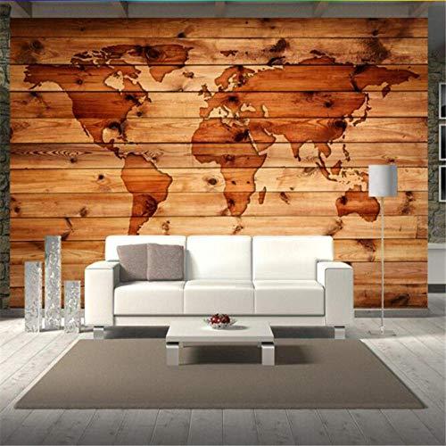 Fotobehang Europese vintage retro wereldkaart massief hout stijl behang fotobehang hout woonkamer study bar koffie winkel wand 300 * 210cm