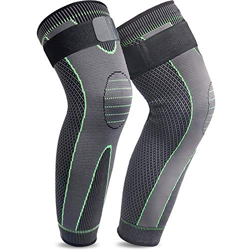 Beister 1 Pair Compression Leg Sleeves with Elastic Straps for Men & Women, Extra Long Leg Braces Knee Sleeve for Basketball, Football, Knee Pain, Working Out, Joint Pain, Arthritis, Running, ACL