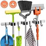 Broom Holder Wall Mount - 16' Wall Stud Installation Broom Mop Holder Wall Mounted - Broom Hanger with 3 Unit Clamps and 4 Utility Hooks for Storage, Closet - Broom Organizer Wall Mount - Broom Rack