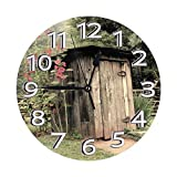 Outhouse Vintage Farm Life Reloj de Pared Retro Relojes Decorativos Impermeables Reloj Ligero con números Romanos Reloj de Pared Redondo
